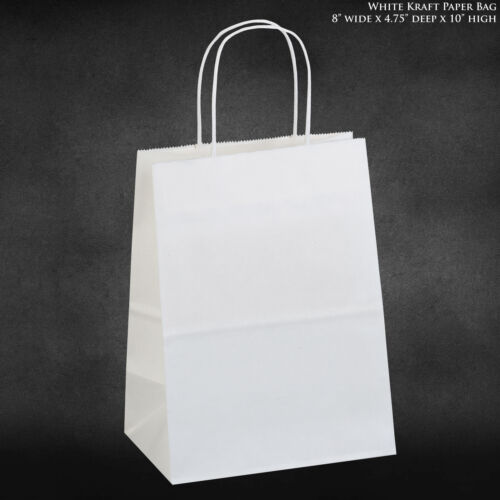 """8""""x4.75""""x10.5 White Kraft Paper Bags, Shopping, Merchandise, Party, Gift Bags"""