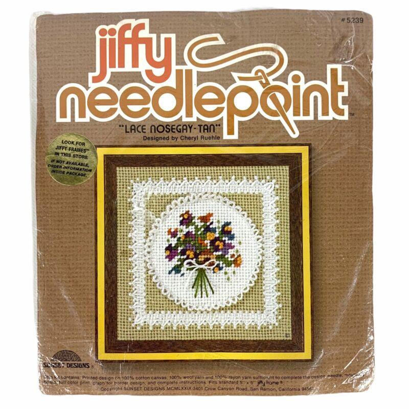 VTG Jiffy Needlepoint Lace Nosegay Kit 5 x 5 Bouquets #5239 1979 Sunset Designs