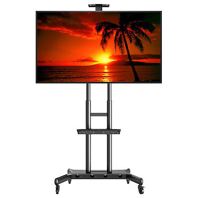 "Rolling TV Stand Cart Mount Wheels for OLED, LED, Flat Screen - fits 32"" - 70"""