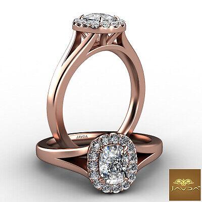 Halo Split Shank French U Pave Cushion Diamond Engagement Ring GIA G VS1 0.7 Ct 8