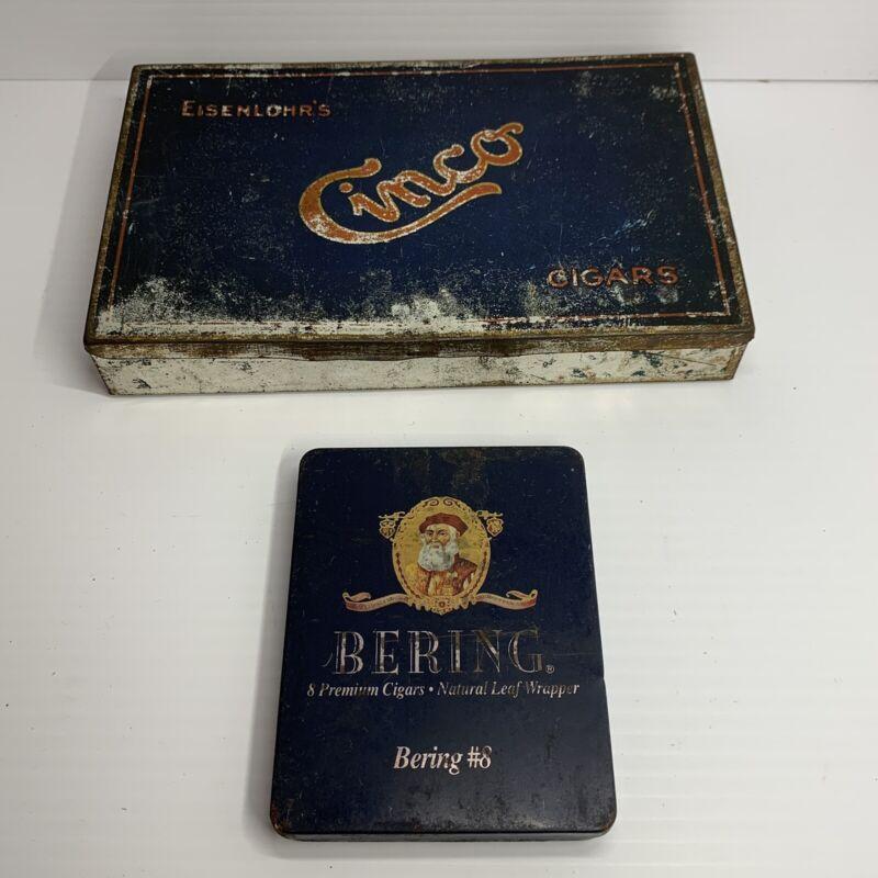 Lot 2 Vintage Metal Advertising Cigar Tins ..Cinco & Bering # 8
