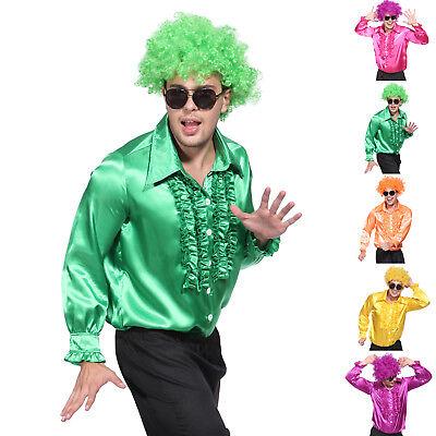 GENTS 70S DISCO NIGHT STAG PARTY METALLIC RUFFLE SHIRT DANCE FANCY DRESS COSTUME