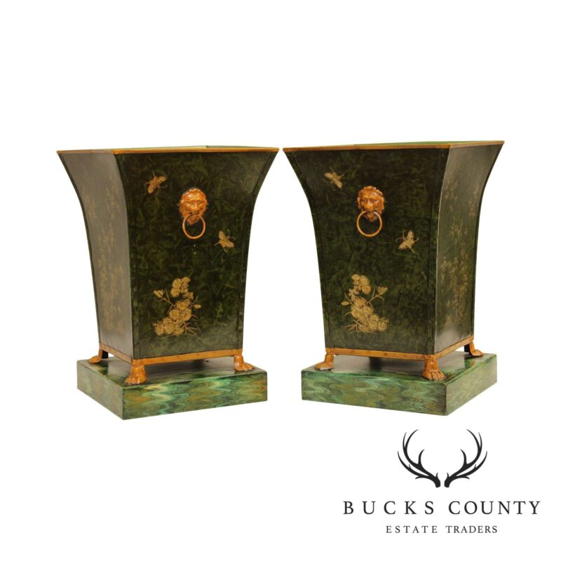 Regency Style Italian Pair Cachepot Tole Planters