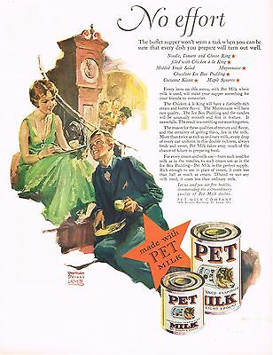 1920s BIG Vintage Pet Milk Wm William Meade Prince Man Lady Fashion Art Print Ad