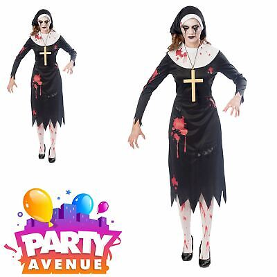 Ladies Zombie Nun Costume Halloween Sister Scary Mary Womens Fancy Dress Outfit (Nun Halloween Outfit)