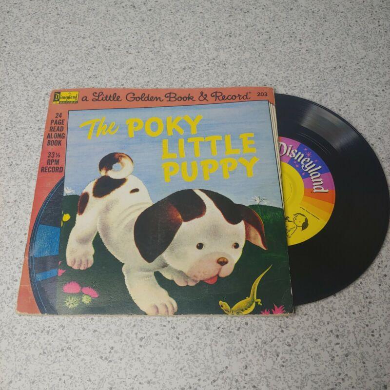 Vintage Disneyland Little Golden Book Poky Little Puppy 203 Book Record 1976