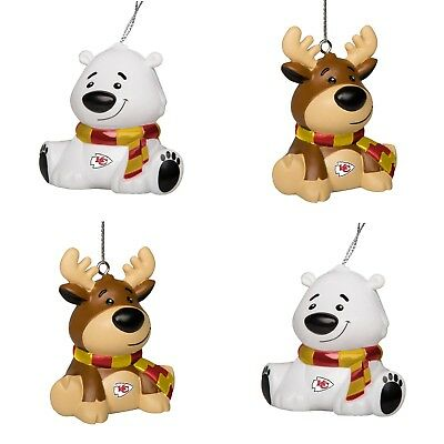 Kansas City Chiefs 4 Pack Reindeer & Polar Bear Christmas Tree Holiday Ornament ()
