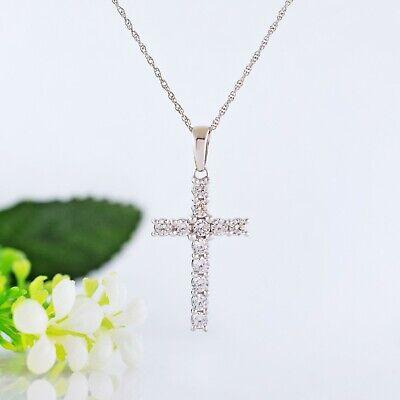 1.00 Ct Round-Cut Brilliant VVS1 Diamond Cross Pendant 14K White Gold Fn