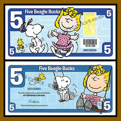 Cedar Fair 5 Beagle Bucks  2013  Peanuts  Snoopy Sally  Like Disney Dollar