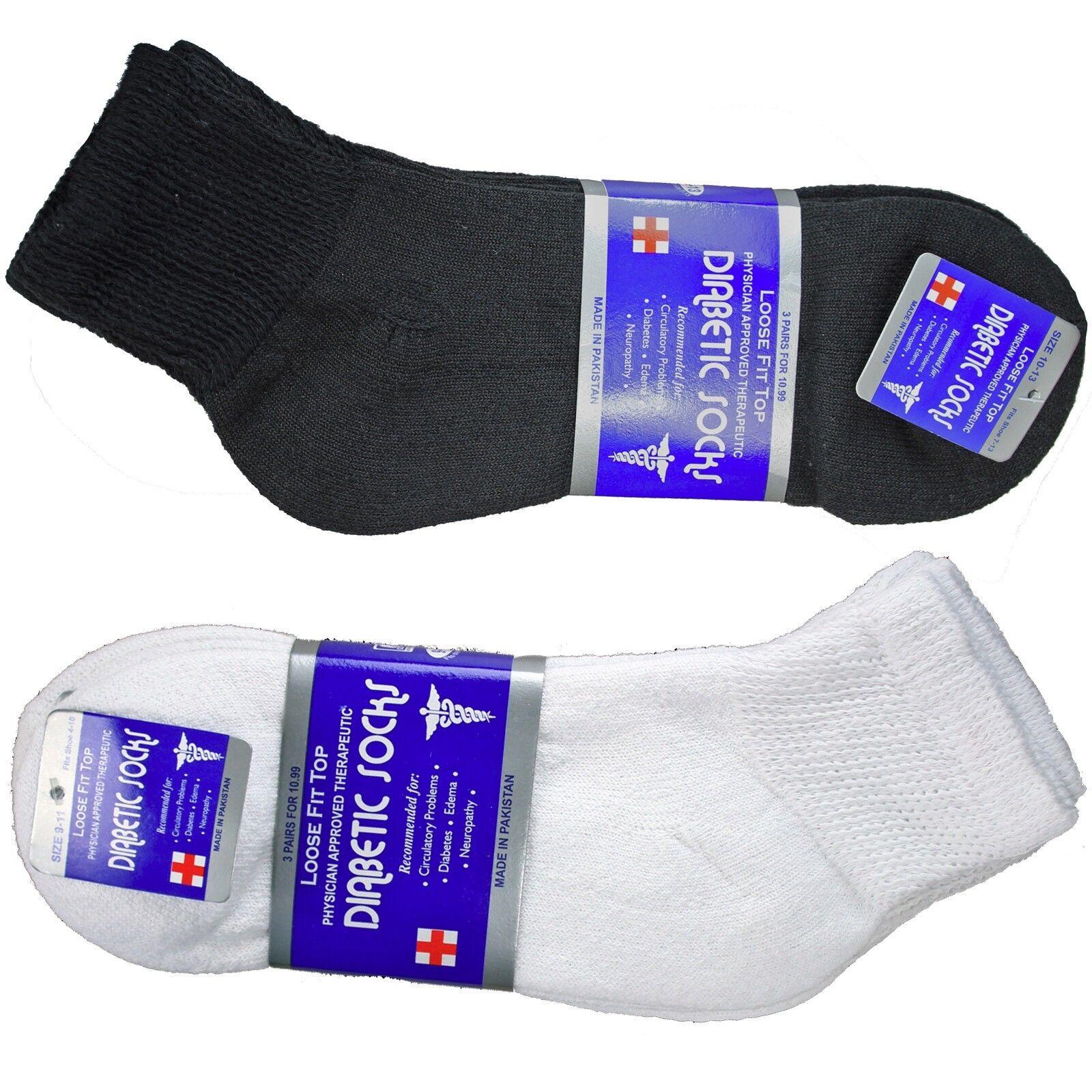Diabetic Diabetes Edema Neuropathy Health Crew Socks Men 9-11 10-13 13-15 12 pk