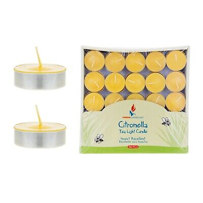 Tea Scented Candles - Mega Candles - Citronella Scented Tea Light Candles - Yellow, Set of 50