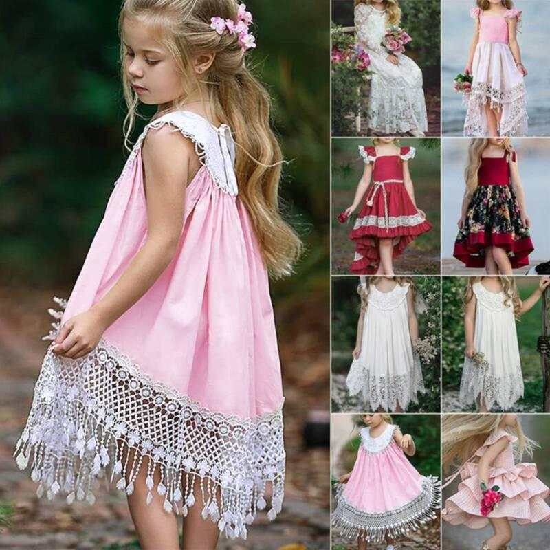 Toddler Kids Girl's Wedding Lace Princess Dress Summer Forma