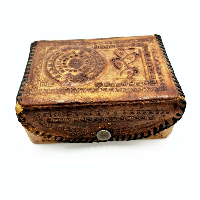 Vintage Mexico Hand Tooled Leather Trinket Box