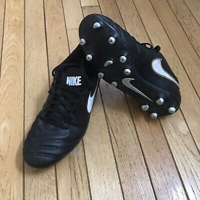 Nike Tiempo Rio III FG Leather Soccer Cleats Men's Size 8.5 Black Gold 819233-01