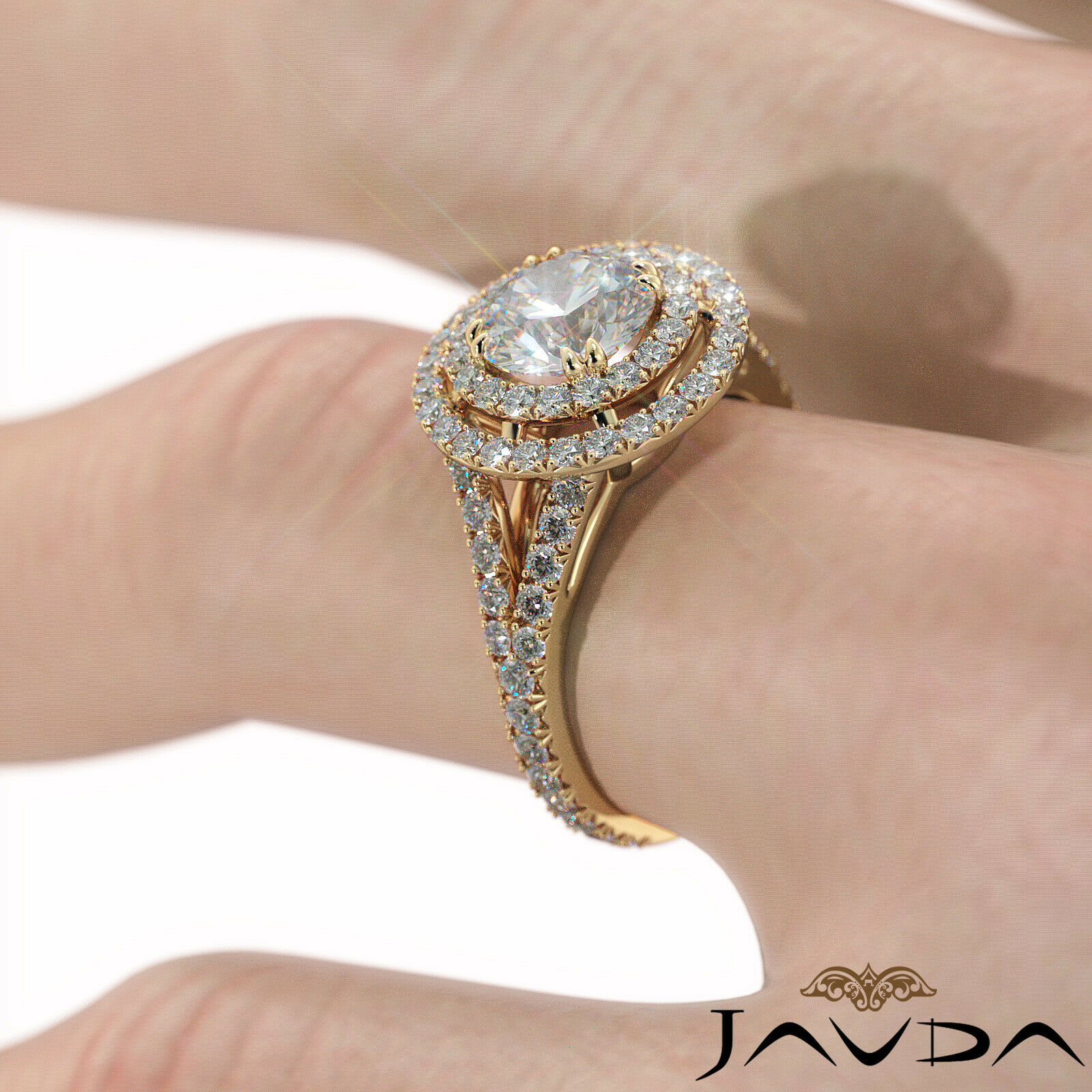 2.05ct French Pave Gala Halo Round Diamond Engagement Ring GIA F-VVS1 White Gold 11