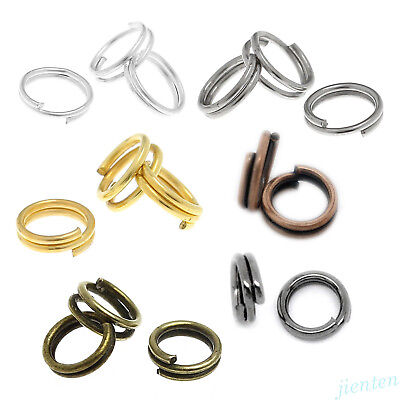 (Steel Nickel Plated Open Double Split Key Jump Ring Connector 4/5/6/8/10/12/14mm)