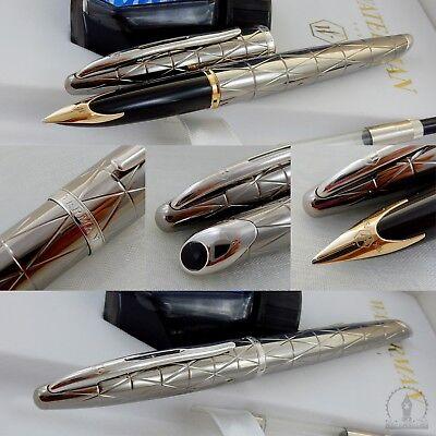 New In Box Waterman Carene Contemporary Gunmetal  Fountain Pen - 18K Broad Nib