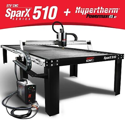 Stv Cnc 5x10 Plasma Cutting Table With Hypertherm Powermax45 Xp Machine