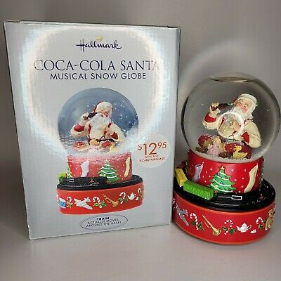 HALLMARK Coca-Cola Santa CHRISTMAS Musical Snow Globe with Moving Train Plus Box