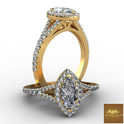 Halo Split Shank Marquise Diamond Engagement French Pave Set Ring GIA G VS1 1Ct