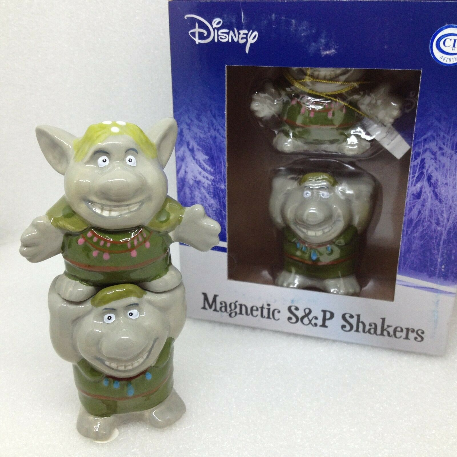 Disney Frozen Trolls Cartoon Stacked Salt Pepper Shaker Ceramic Figurine New NIB