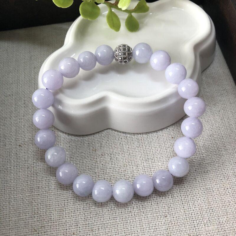 SALE 8.2 mm Grade A Lavender Bead Jade Jadeite Bracelet 22pcs. With Silver Bead