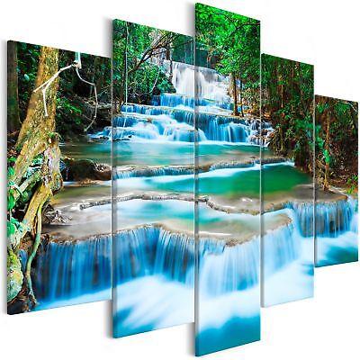 Wandbilder xxl 225x100 cm Wasserfall Wald Leinwand Bild Wohnzimmer c-B-0328-b-m