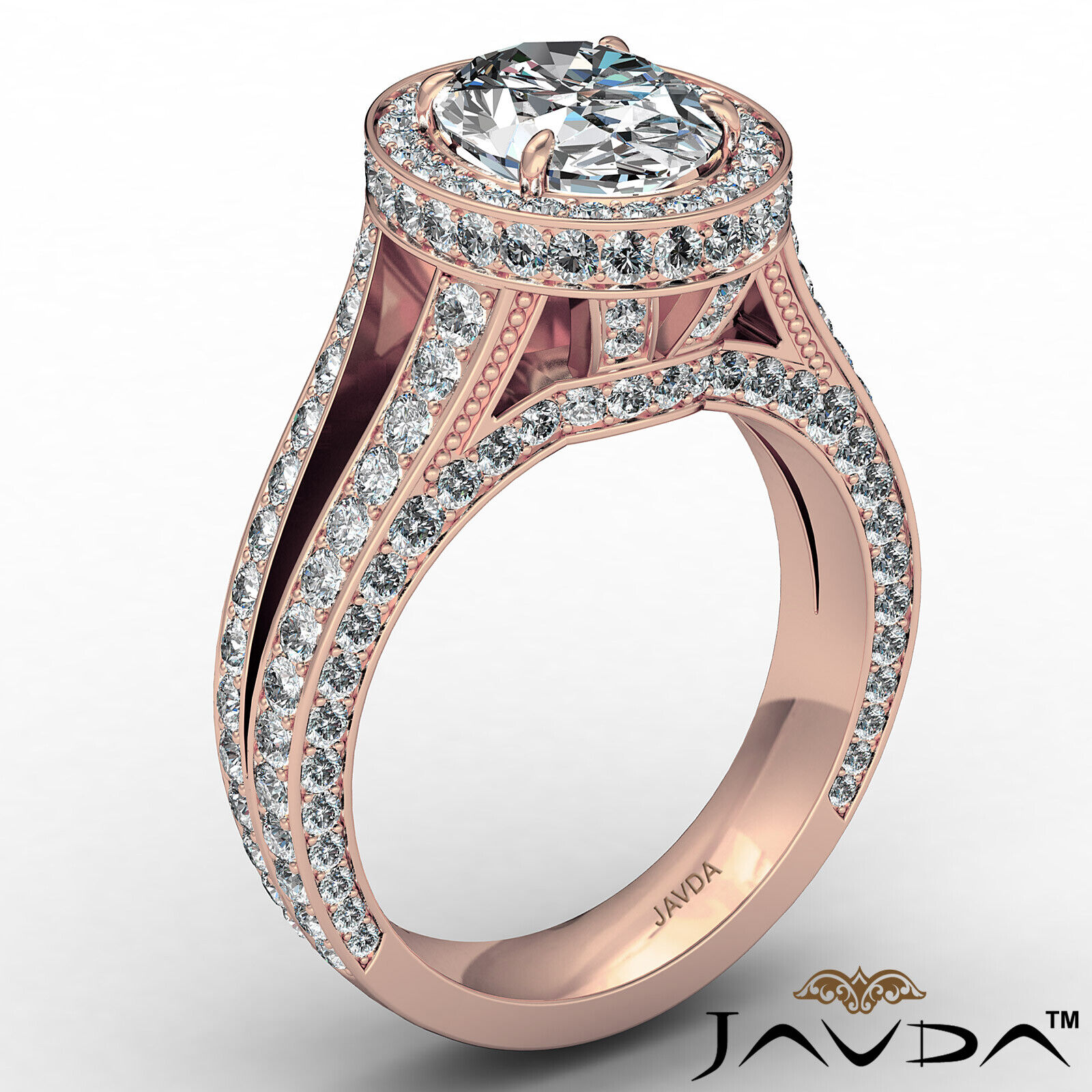 Halo Oval Diamond Engagement Ring GIA Certified F Color & SI1 clarity 2.31 ctw 5