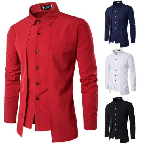 Men Luxury Formal Shirt Long Sleeve Slim Fit Business Casual