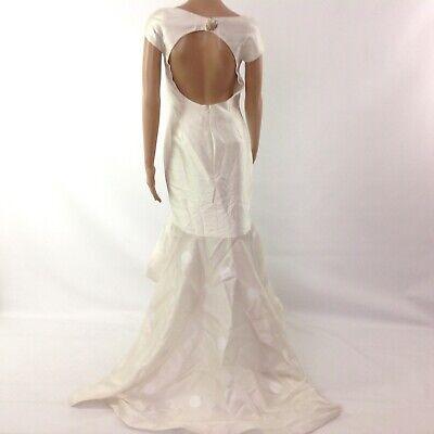 $1500 Leal Daccarett Women High Low Mermaid Dress Wedding Tail Polka Dot Ivory 4