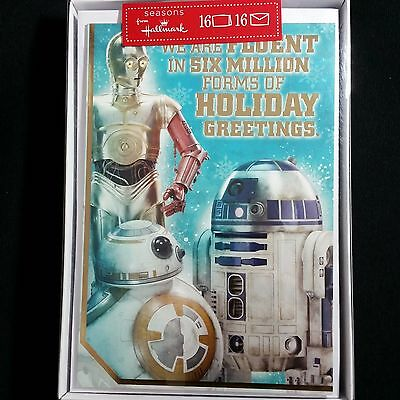 Christmas Cards Star Wars Boxed Hallmark Force Awakens R2D2 3CPO BB-8 Disney - Star Wars Christmas Cards