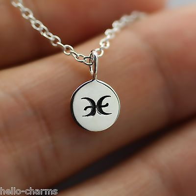 Pisces Necklace   925 Sterling Silver   Tiny Horoscope Zodiac Charm Jewelry New