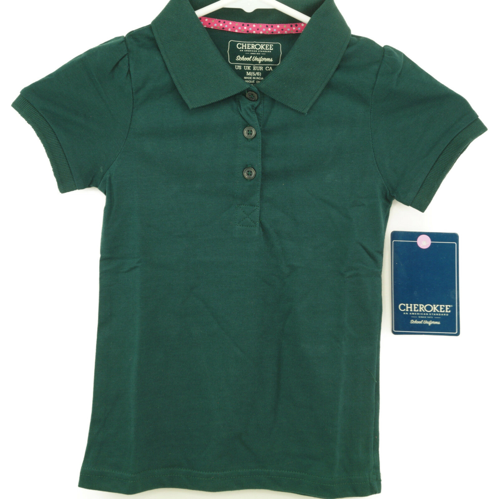 Cherokee Little Girls Uniform Short Sleeve Polo Hunter Green