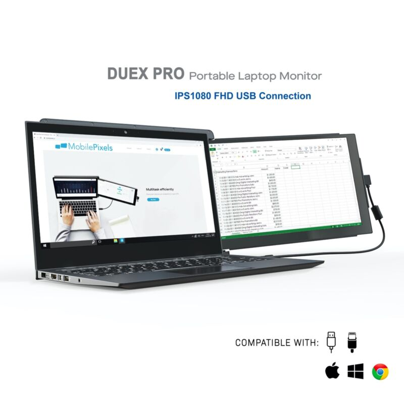 "Mobile Pixels Duex Pro Portable Monitor for Laptops 12.5"" Full HD IPS USB C/A"