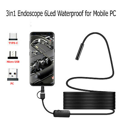 3in1 HD Endoscope 6LED Waterproof  for Android PC