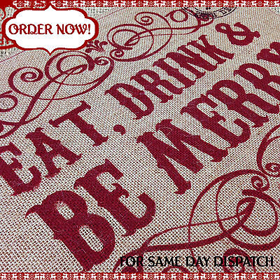 CHRISTMAS TABLE PLACE MAT Xmas Buffet Table Party Decoration - Hessian / Vintage - Halloween Buffet Table Decorations