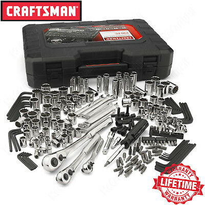 Craftsman 230 Chewing-out share Mechanics Tool Set, Alloy SAE Metric Socket Wrench w/ Case