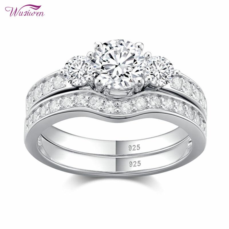 Wuziwen Wedding Engagement Ring Set Women 1.26ct Round Aaaa Cz Sterling Silver