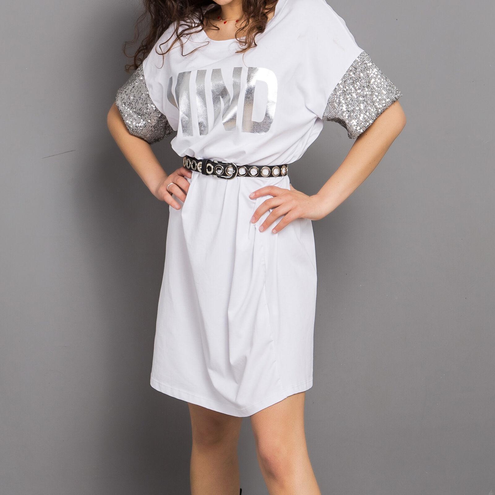 9a9ca781ebfb Maxi maglia vestito mini donna tunica cotone manica corta girocollo moda  8851858.