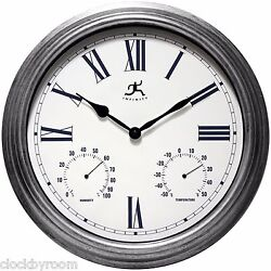 Silo 16 Indoor/Outdoor Wall Clock with Thermometer and Hygrometer