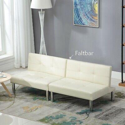 Schlafcouch Schlafsofa Couch Sofa Bett Bettcouch 4 Sitzer Leder  Weiß 180 x 90cm ()