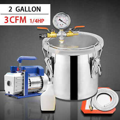 2 Gallon Vacuum Chamber 3 Cfm Single Stage Pump Degassing Silicone Kit New