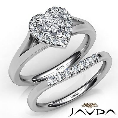 1.39ctw Pave Halo Bridal Set Heart Diamond Engagement Ring GIA H-SI2 White Gold