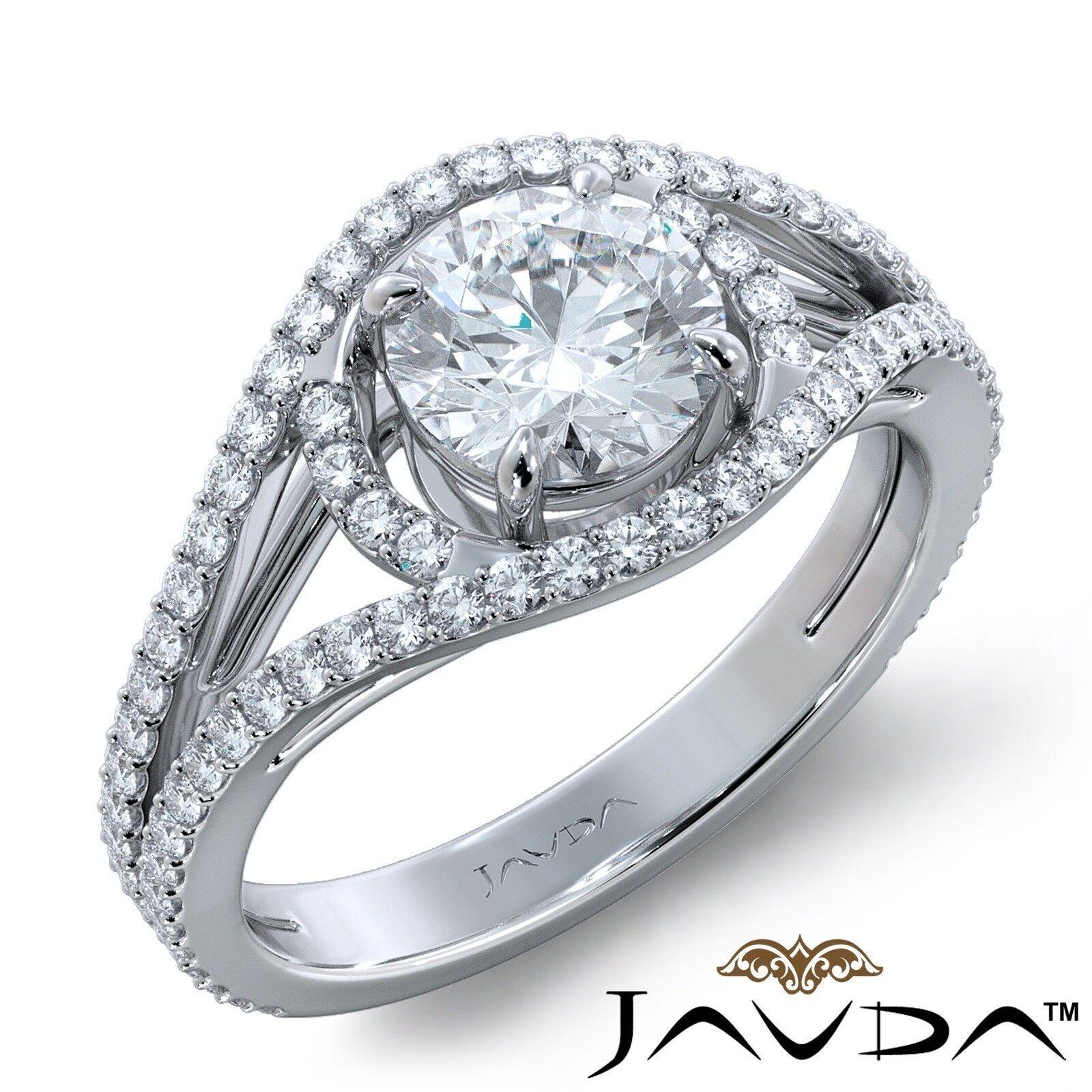 2.05ctw Halo Classic Sidestone Round Diamond Engagement Ring GIA G-VVS1 W Gold