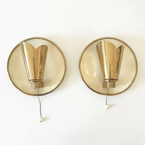 Pair Of Mid Century Modern Wall Lamps Sconces By Jacques Biny (attr.), 1950s