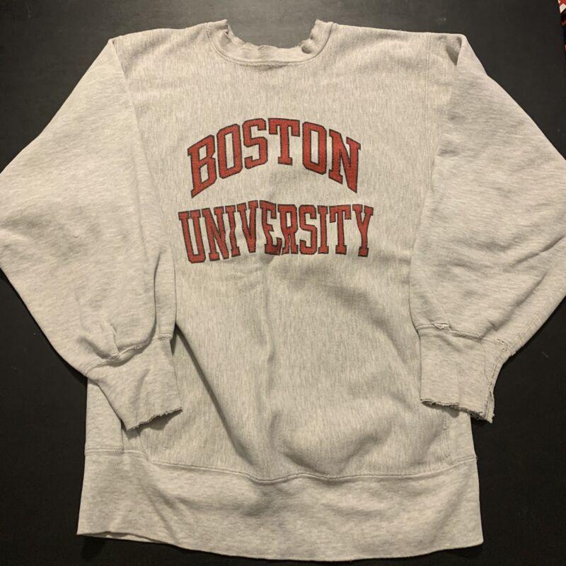 Vintage Champion Reverse Weave Boston University XL 80s College Menswear 90s