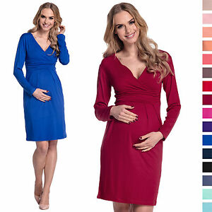 Maternity-Pregnancy-Long-Sleeve-Office-Cocktail-Jersey-Dress-285
