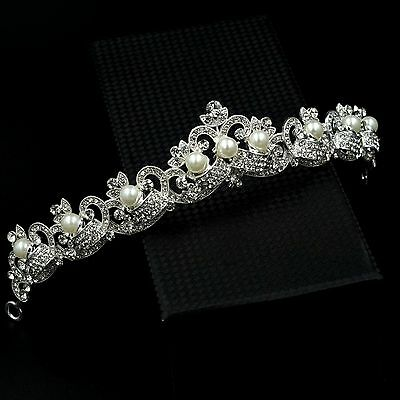 Pearl Austrian Crystal Rhinestone Pearl Tiara Crown Bridal Party Pageant 07237 S