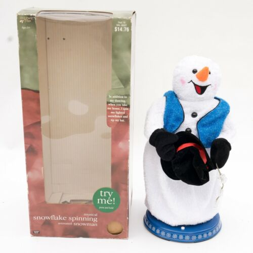Gemmy Animated Christmas Spinning Snowflake Snowman PARTLY Working SEE VIDEO