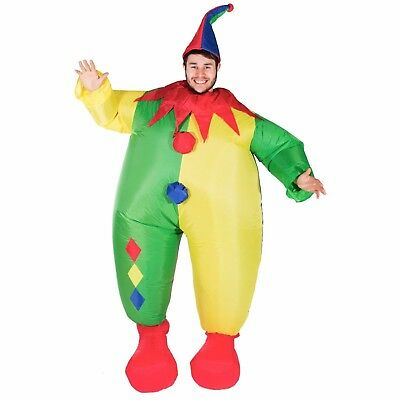 Adult Scary Evil Inflatable Blow Up Clown Costume Outfit Suit Halloween One Size](Halloween Clown Outfit)